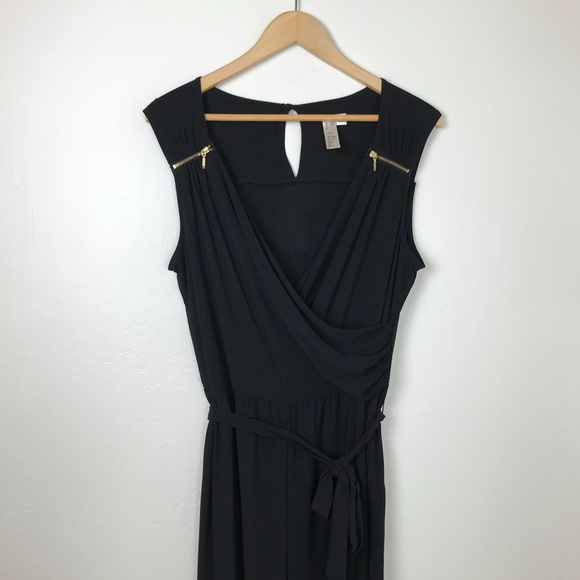 Pants - Black and Gold Sleeveless Pant Jumpsuit